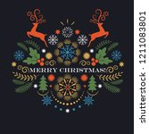 merry christmas greeting card   ... | Shutterstock .eps vector #1211083801