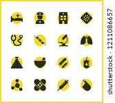 healthcare icons set with lungs ...