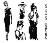 retro woman portrait sketch....   Shutterstock .eps vector #1211103121