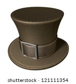 Stock photo a brown material mad hatters hat with a brown leather belt and buckle on an isolated background 121111354
