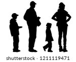 families with little child on... | Shutterstock . vector #1211119471