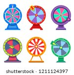 icons of wheels of fortune for... | Shutterstock .eps vector #1211124397