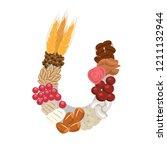 autumnal stylized letter u.... | Shutterstock .eps vector #1211132944