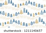 minimal xmas tree hand drawn... | Shutterstock .eps vector #1211140657