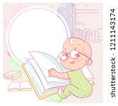 cute little girl  with book ...   Shutterstock . vector #1211143174