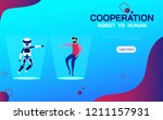 cooperation robot and human. ai ... | Shutterstock .eps vector #1211157931