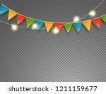 light and flag garlands... | Shutterstock .eps vector #1211159677