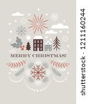 merry christmas greeting card   ... | Shutterstock .eps vector #1211160244
