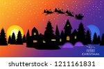 christmas town. santa reindeer... | Shutterstock .eps vector #1211161831
