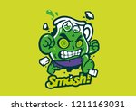angry halloween smoothie... | Shutterstock .eps vector #1211163031