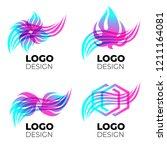 vector logo design elements set.... | Shutterstock .eps vector #1211164081