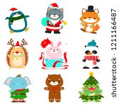 Set Of Cute Christmas Animal...