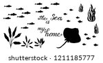 fish symbol silhouettes. fishes ... | Shutterstock .eps vector #1211185777