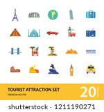 tourist attraction icons set.... | Shutterstock .eps vector #1211190271