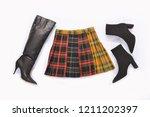 stylish stripy skirt with black ... | Shutterstock . vector #1211202397