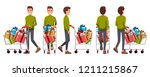 vector illustration of walking... | Shutterstock .eps vector #1211215867