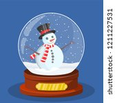 snow glass globe with christmas ... | Shutterstock .eps vector #1211227531
