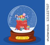 christmas snow globe with red... | Shutterstock .eps vector #1211227537