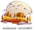 farm in scenic autumn landscape ...   Shutterstock .eps vector #1211234827