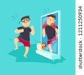 fat guy in front of mirror... | Shutterstock .eps vector #1211250934