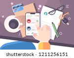 human hand using smartphone... | Shutterstock .eps vector #1211256151