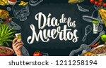 dia de los muertos lettering... | Shutterstock .eps vector #1211258194