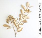 golden leaf and fruit design... | Shutterstock . vector #1211266261