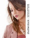 Beautiful fashion woman portrait on white background - stock photo