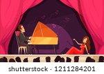 opera theater flat cartoon... | Shutterstock .eps vector #1211284201