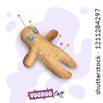 voodoo doll with colorful pins... | Shutterstock .eps vector #1211284297