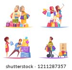 shopaholic design concept with... | Shutterstock .eps vector #1211287357