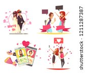 virtual and real love design... | Shutterstock .eps vector #1211287387