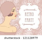 flapper girls set  retro party... | Shutterstock .eps vector #121128979