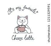 it's my favorite. cheese latte. ... | Shutterstock .eps vector #1211329591