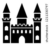 a royal castle with two towers ...   Shutterstock .eps vector #1211330797