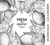 lemon label drawing. citrus... | Shutterstock . vector #1211366884