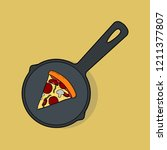 pizza slice in pan isolated on... | Shutterstock .eps vector #1211377807
