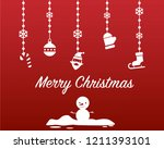 merry christmas and snowman red ... | Shutterstock .eps vector #1211393101