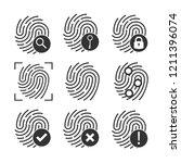 fingerprint icon set. vector...   Shutterstock .eps vector #1211396074
