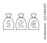 money bag icon. dollar  euro ... | Shutterstock .eps vector #1211396107