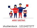 flat cartoon boy girl family... | Shutterstock .eps vector #1211427277