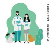 veterinarians medical with cute ... | Shutterstock .eps vector #1211435851