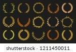 vector laurel autumn wreaths on ... | Shutterstock .eps vector #1211450011
