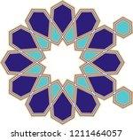 ottoman tile   tezhip motifs... | Shutterstock .eps vector #1211464057