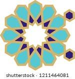 ottoman tile   tezhip motifs... | Shutterstock .eps vector #1211464081