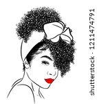 curly beauty girl illustration... | Shutterstock .eps vector #1211474791