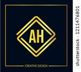 initial letter ah logo template ... | Shutterstock .eps vector #1211476801