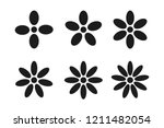 Stock vector set of black flower icons with different petal numbers on a white background vector illustration 1211482054