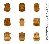 tribal idol icon set. flat set... | Shutterstock .eps vector #1211491774