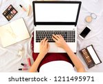 young woman fashion beauty... | Shutterstock . vector #1211495971